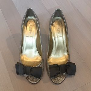 Jcrew gold heels with bow